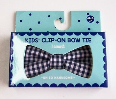 Gingham Bow Tie Toddler Boy's Clip-On Bowtie Navy White Check New in Box
