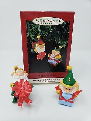 Hallmark 1995 Happy Wrappers Set 2 Ornaments Hang Together 1219