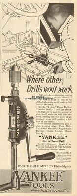 1920 Yankee Tools Ratchet Breast Drill No 1555 North Bros Philadelphia Pa Ad