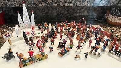 LEMAX CHRISTMAS VILLAGE ACCESSORIES FIGURES PEOPLE LOT OF  68 Pieces
