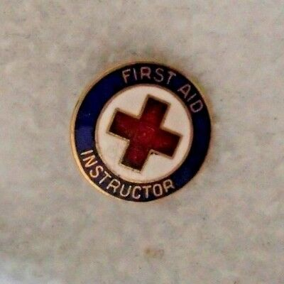 Vintage Ski Patrol First Aid Instructor Pin  Button Red Cross