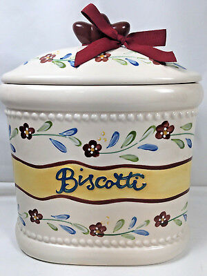 Handmade for Nonni's Biscotti Cookie Jar; Oval; Ceramic; Excellent Condition