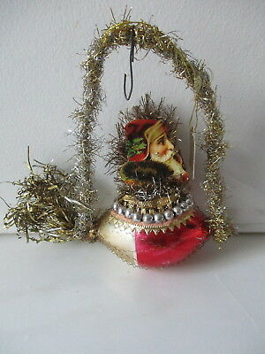 Christmas Ornament Bethany Lowe Heirloom Dresden Ltd. Santa Zepplin Tinsel