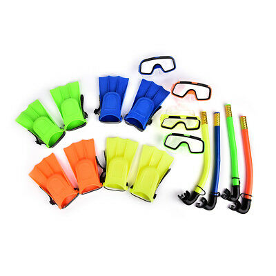 Kids Diving Mask Snorkel Glasses Fins Set Silicone Swimming Pool Equipment  R
