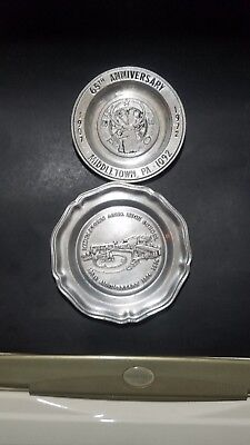 """2 Wilton RWP Pewter Plates 6"""" And 7"""" Rare Middletown Anniversary Plates NR"""