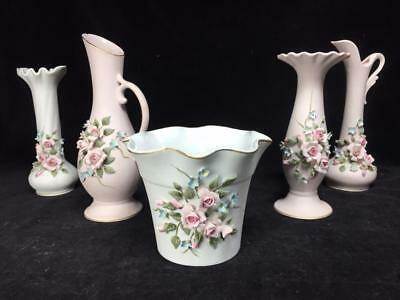 Lot of 5 Lefton Pink and White Bisque Hand Painted Floral Vases - AS IS