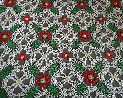 Beautiful Christmas Holiday green red white LACE CROCHET tablecloth 64 x 50 inch