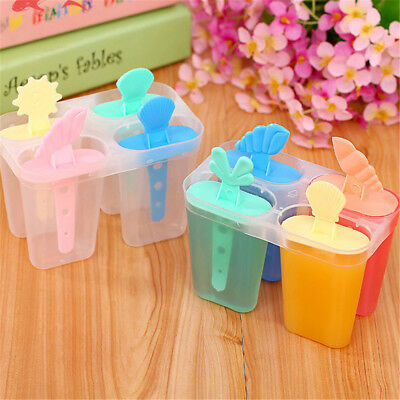 4 cell ice cream pop mold popsicle maker lolly mould tray pan diy   R