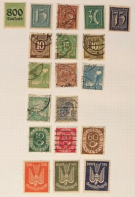 Germany postage stamps lot of 19 old.            De