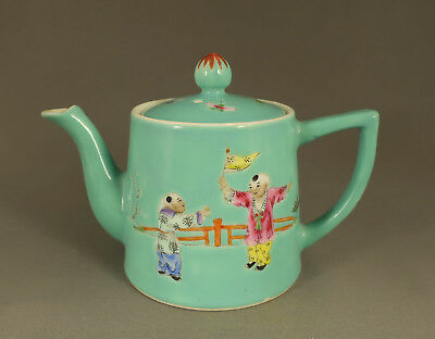 Chinese Qianlong Mark Famille Rose Teapot Boys Playing -Pomegranates Butterflies
