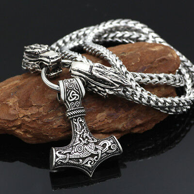 Stainless Steel Viking Necklace Wolf Head With Thor's Hammer Bear Wolf Pendant
