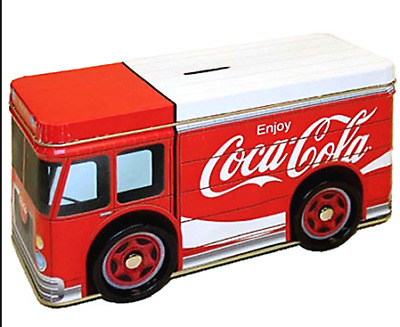Coca Cola Coke Tin Metal Delivery Truck Coin Bank