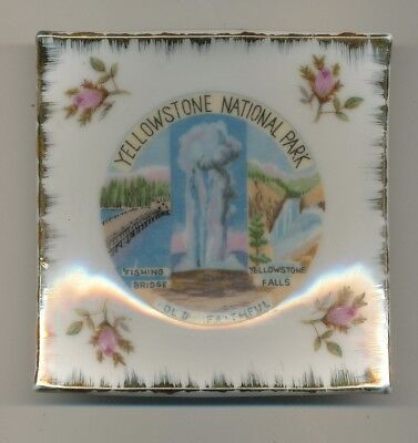 Yellowstone National Park Old Faithful Ceramic Ash Tray/ Pin Dish c1950's