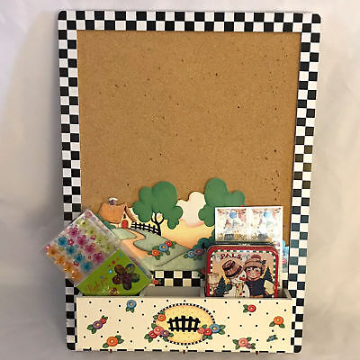 Mary Engelbreit  17 x 12 At Home 4 pc Message Cork Board w Key hooks PLUS extras