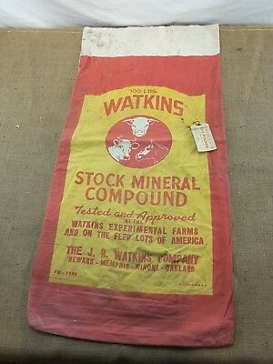 1950's WATKINS Stock Mineral Compound Feed Sack Cloth Bag
