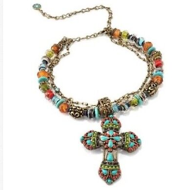 SWEET ROMANCE Shelley Cooper MAYAN CROSS South West Style Statement Necklace Box