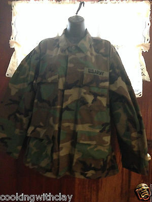 7bce64d72 Green Camouflage Military Army Mens Outdoor Hunting Jacket Size Medium Long