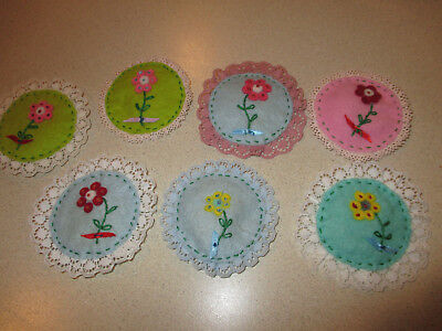 Lot of 7 Vintage Handmade Sachets - Vanity - Embroidered Flower - 3""