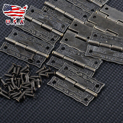 10Pcs Mini Vintage Antique Brass Hinges For Wooden Furniture Jewelry Gift Box#US