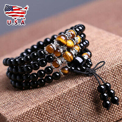Tiger-eye Buddhist Obsidian 108 Prayer Beads Mala Stone Bracelet & Necklace#US