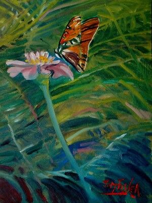 Oil Painting Original Landscape Impressionist Butterfly Flowers Foliage Blossom