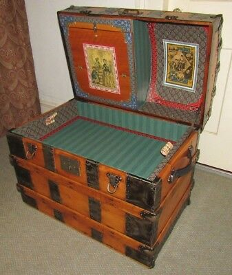 Antique Steamer Trunk Vintage Victorian Dome Top Wedding / Brides Chest Tray&key