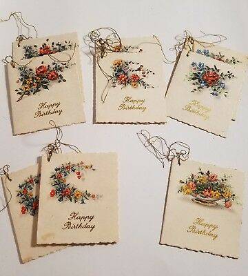 Vtg AFKH Kruger Birthday Gift Tag W Germany Floral Mica Unused Unsigned set of 9