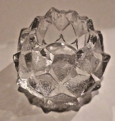 Vintage Orrefors Nimbus Crystal Candle Holder -- 4 Rows Of Artichoke Petals