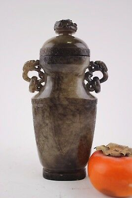 Rare Chinese carved jade vase Qing Dy