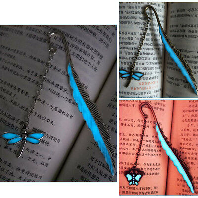 Luminous Night Butterfly Bookmark Label Read Maker Feather Stationery Copper  R