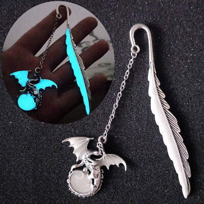 Luminous Night Flying dragon Bookmark Label Read Maker Book Stationery Silver  R