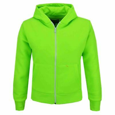 Kids Girls Unisex Plain Fleece Neon Green Hoodie Zip Up Style Zipper Age 2-13 Yr