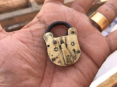 Old or antique solid brass small miniature padlock lock with key decorative