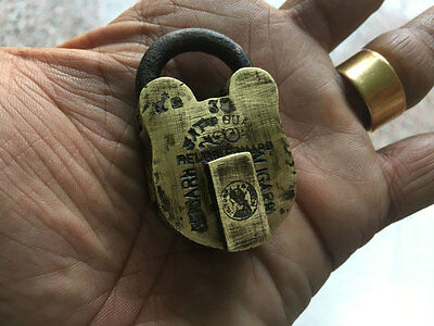 014 old antique solid brass small miniature padlock lock with key RARE shape
