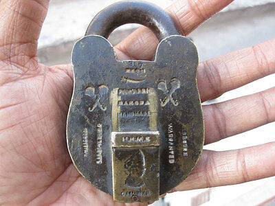 (14) An old or antique solid brass padlock lock with key rich patina