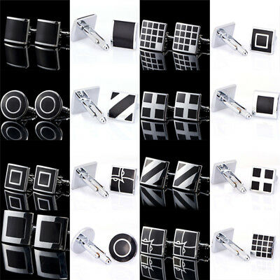 1Pair Black Stainless Steel Mens Cufflinks Shirt Cuff Links Wedding Party Gift R