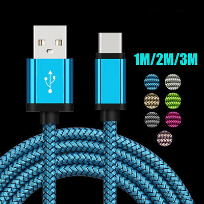 Long Braided USB Quick Charger Data Charging Cable Lead For iPhone Android TypeC