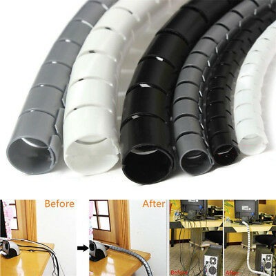 10mm/25mm Black/White Spiral Cable Wrap Tidy Cord Wire Banding Storage Organizer