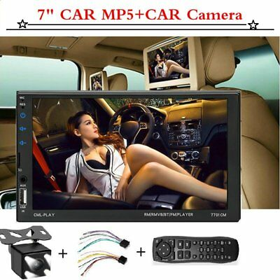 1x 7'' Car MP5 2DIN Player Bluetooth Touch Screen Stereo Radio HD + Rear Camera