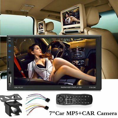 1x 7''  Car MP5 Player Bluetooth 2DIN Touch Screen Stereo Radio HD + Rear Camera