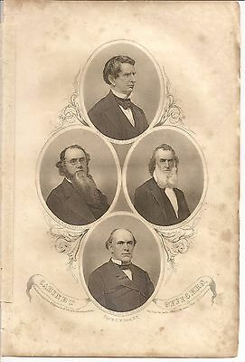 Civil War engraving: Lincoln's Cabinet Wm. Seward, Edwin Stanton, Chase, Welles