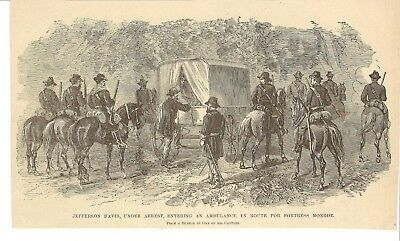 Civil War engraving: Capture of Jefferson Davis, Fortress Monroe, Irwinville GA