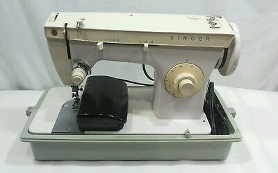 Vintage Singer Fashion Mate Sewing Machine Model 247 w/ Pedal and Carrying Case