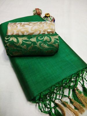 India Pakistani Heavy Cotton Saree New with Double Blouse Ethnic Bollywood Party