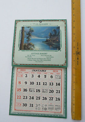 Vintage 1933 Cottage Bakery Hayward Ca Advertising Wall Calendar Thompson Print?
