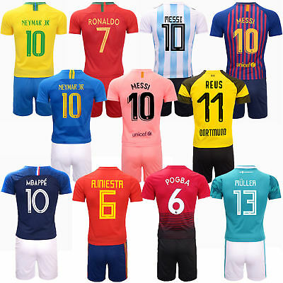 18/19 League Football Kits Kids Boys Short Sleeve Home/Away Jersey Suits +Socks