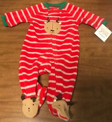 2b144bad75f0 JUST ONE YOU Carters Fleece Christmas Sleeper Reindeer NEWBORN NWT ...