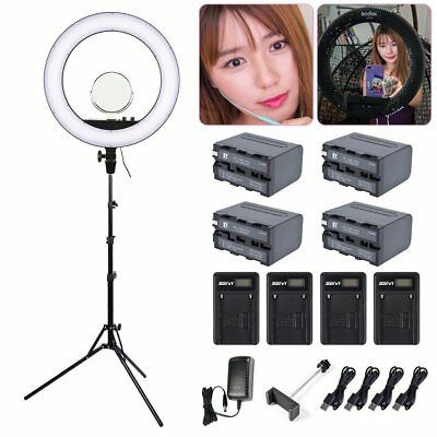 Godox LR160 LED Dimmable Ring Light +Light Stand+4*6600mAh Battery+4*USB Charger