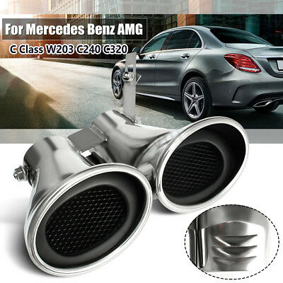 Twin Exhaust Pipe Muffler Tips Fit For Mercedes Benz AMG C Class W203 C240