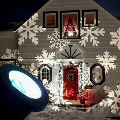 Outdoor Snowflake Projector Moving Lamp Spike Light Landscape Garden Xmas Light